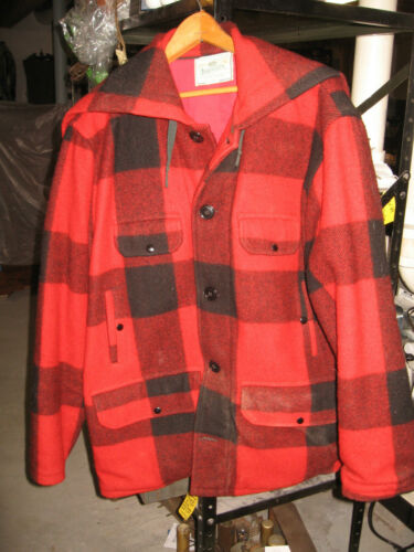 JOHNSON Woolen Mills red plaid hunting coat hooded