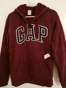 GAP-Mens-Fully-Lined-Sherpa-Arch-Logo-Zipper-Hoodie-Jacket-Size-M-Burgundy