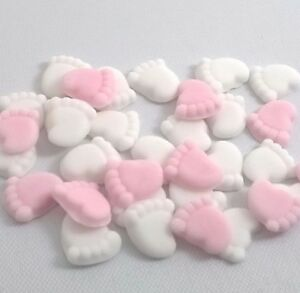 30-PINK-MIX-BABY-FEET-Edible-Cake-Cupcake-Decorations-Toppers-Shower-Christening