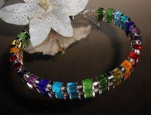 Exclusive GLAS Würfelkette MULTICOLOR / Glas Würfel Perlen - Collier Bunt