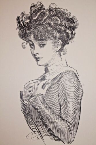 GIBSON GIRL 1909 COLLIER/'S MAGAZINE ARTISTS/' PROOF No 2 Not Worrying About Her