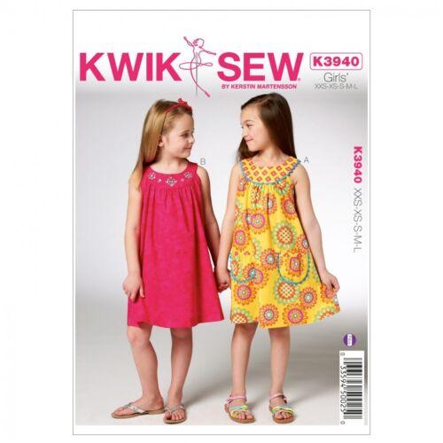 Kwik.. Kwik Sew Childrens fácil patrón de costura 3940 Niñas Bonita vestidos de verano