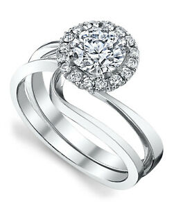 0.51 Ct Round Moissanite Engagement Superb Band Set Solid 18K White Gold Size 6