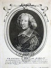 NICOLAS DE LARMESSIN Portrait Fr. Harlay de Champvallon 1680 Gravure sur cuivre