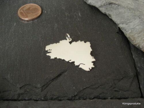 NEU BRETAGNE Landkarte Anhänger in 925er Silber Breizh