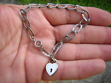 GORGEOUS ANTIQUE VINTAGE ORNATE LINK STERLING SILVER HEART LOCK CHARM BRACELET