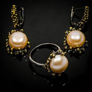 Popular-Design-Natural-Pearl-14mm-925-Sterling-Silver-Ring-Earrings-RVSS05