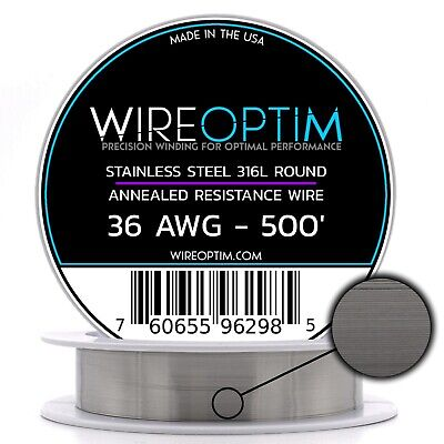 36 AWG Stainless Steel Wire 316L 0.127mm SS 316L 500/'