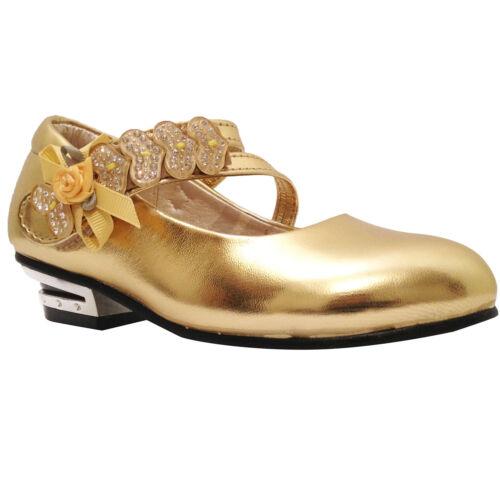 Filles Enfants Mariage Demoiselle D/'Honneur Fête Talon Bas Chaussures Taille