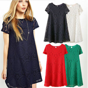 Summer-Women-Lady-Lace-Hollow-Skirt-Mini-Dress-Casual-Beach-A-line-Dress-S-5XL