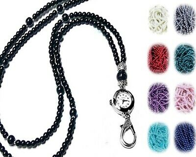 Color Choice Beaded Lanyard security work id badge holder Flower and pearls