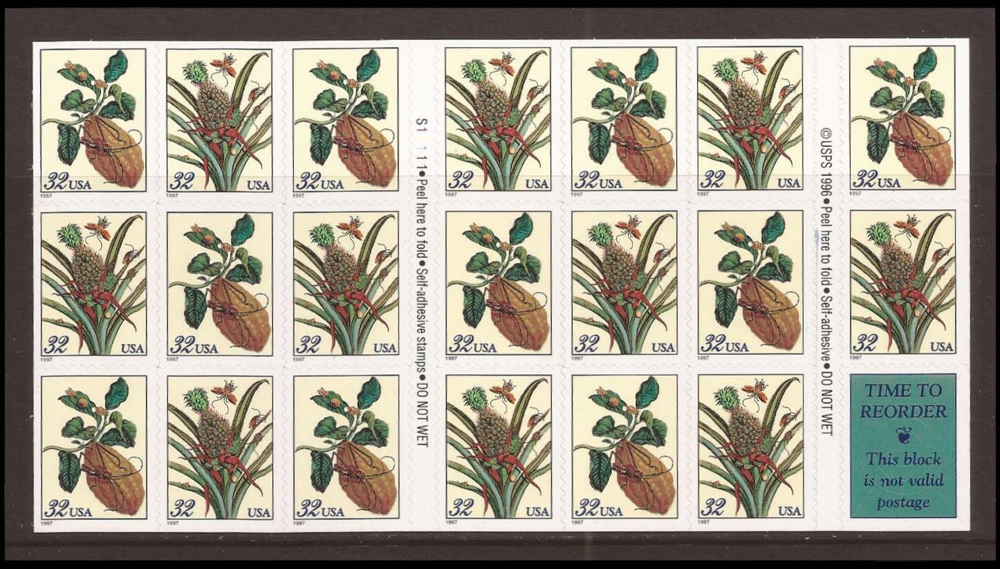 1997 32c Merian Botanical Prints, Booklet of 20 Scott 3