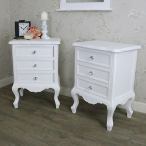 Pair White Bedside Table Vintage French
