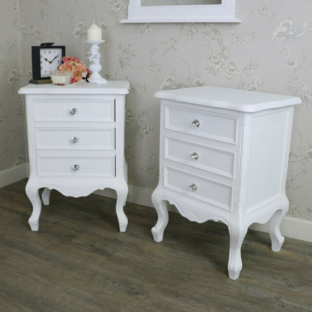 Pair Grey 2 Drawer Bedside Table