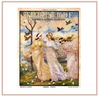 Art Print On Silk Vintage Mag Cover - 'the Etude' - 3 Lovely Ladies Birds Music