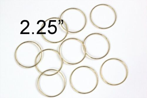 "2.25/"" Macrame Ring PACK of 10 Metal Ring Hoop Brass Gold Toned"