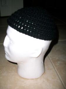 c45dd49d5184eb Adult Men's Handmade Skull Cap Kufi Beanie Hat - BLACK -Crochet ...