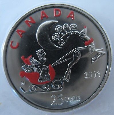 Santa in Sleigh and Reindeer One Coin 2006-25-cent RCM Original Sealed