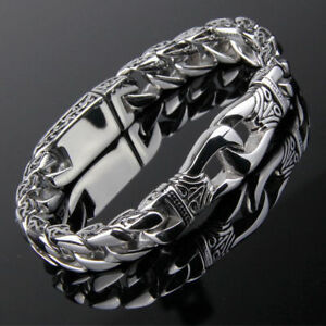 Men-039-s-Stainless-Steel-Polished-Silver-Heavy-Huge-Curb-Link-Chain-Bracelet-Bangle