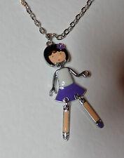 ANIME Dancing Girl Doll CIONDOLO SMALTO BIANCO VIOLA ARGENTO PL harijuku kawaii