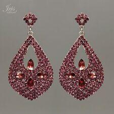 Rhodium Plated Purple Crystal Rhinestone Chandelier Drop Dangle Earrings 09307