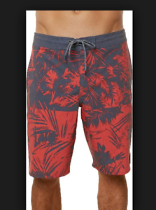 New O'Neill Ingreened Cruzer red bluee board shorts swim trunks sz 32 36 38