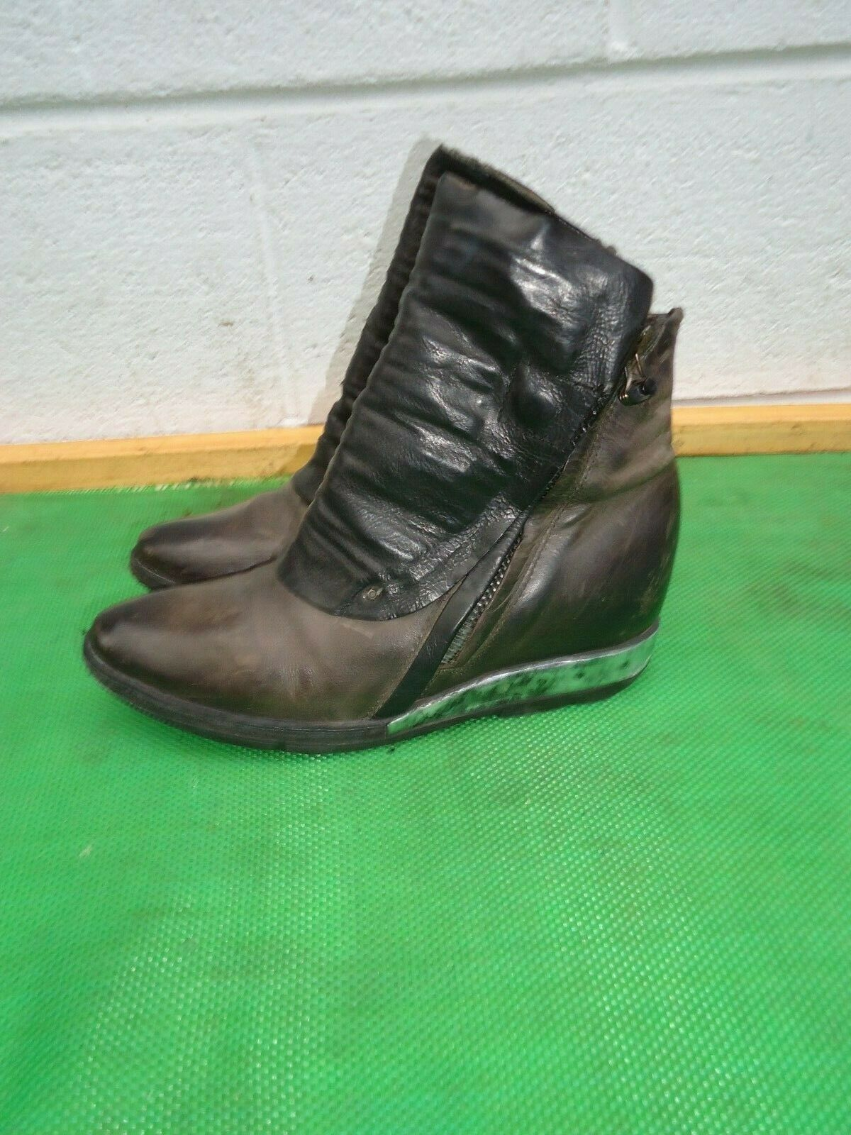 A.S.98 Marrón Negro De Cuero botas al Tobillo Mujeres SZ