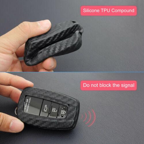 Carbon Fiber Keys Fob Chain For Toyota Camry CHR Avalon RAV4 Covers Case Holder
