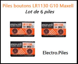 Lot-de-6-Piles-bouton-LR1130-G10-de-marque-MAXELL-livraison-rapide-et-gratuite