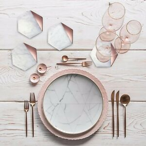 Image Is Loading Hexagon Marble Rose Gold Set Of 4 Drink