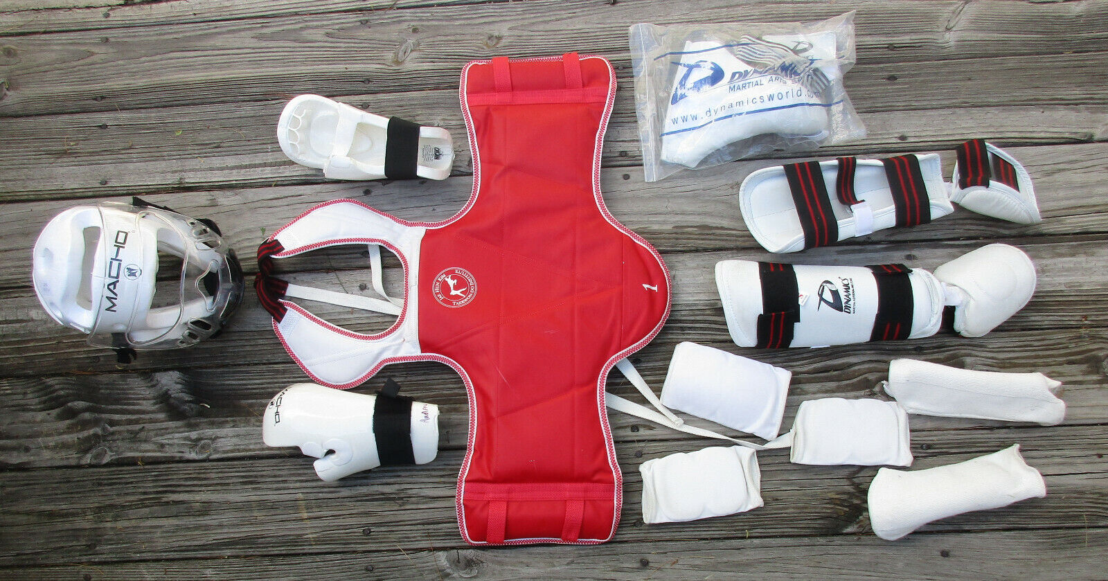 USED MACHO YOUTH Martial Arts Sparing  Gear  KARATE, TAEKWON-DO  HELMET CHEST  order now with big discount & free delivery
