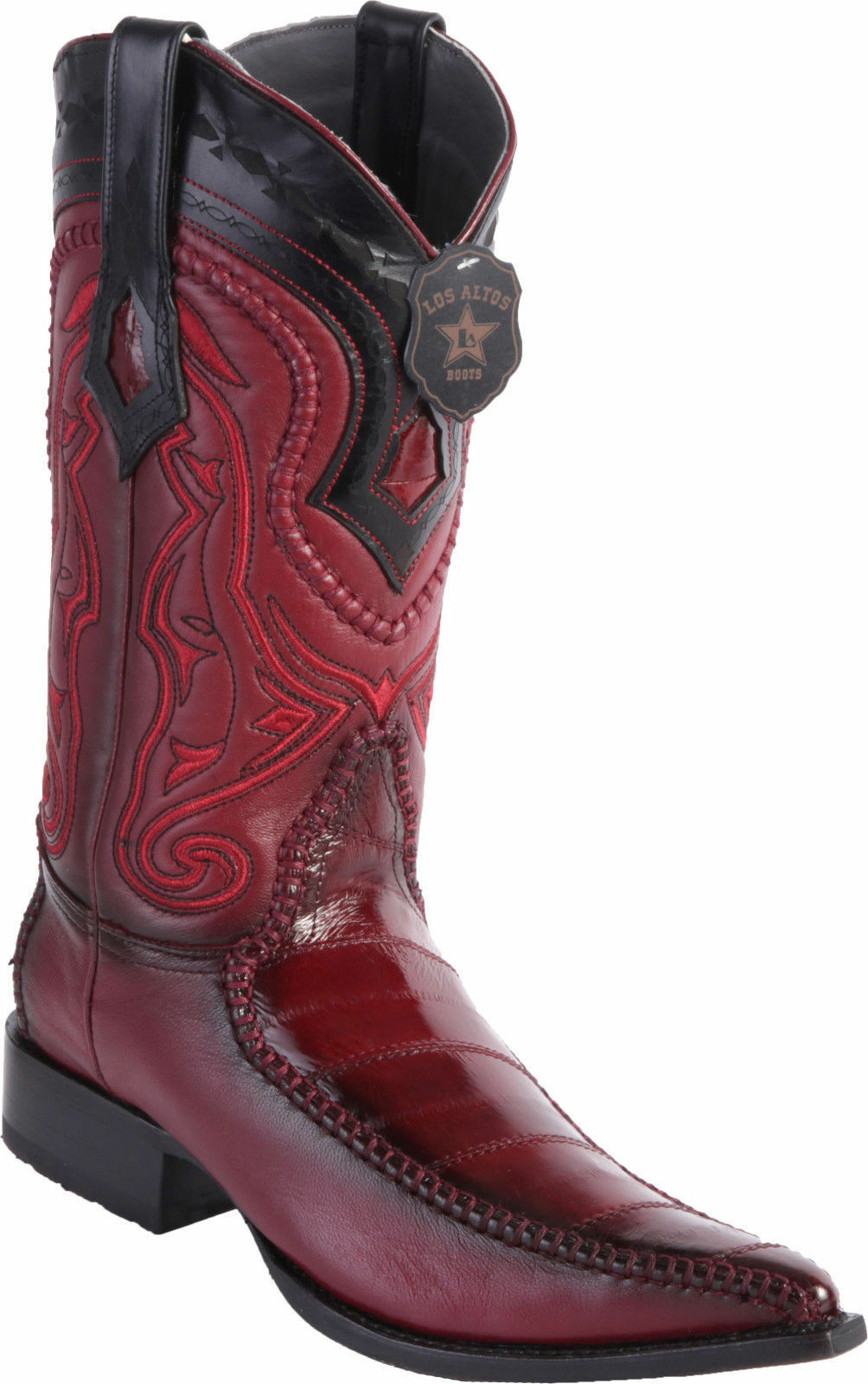 LOS EEL ALTOS Uomo BURGUNDY GENUINE EEL LOS 3X TOE WESTERN COWBOY BOOT EE cd60cd