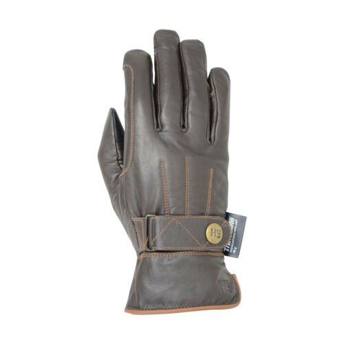 Hy5 Thinsulate Leather Winter Horse Riding Gloves Equestrian Black Tan