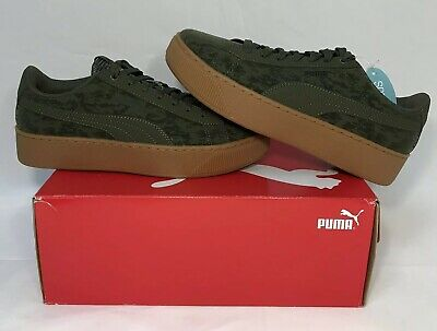 PUMA Vikky Platform VR Womens Memory Foam Textured Sneakers Shoes Olive Green | eBay