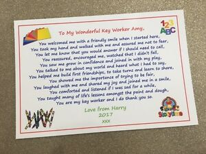 Pre-School Kindergarten Key Stage Worker School Helper Nursery Thank You Teacher Card Teaching Assistant Personalised /& Handmade