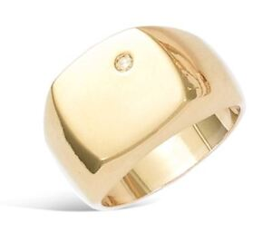 New-18ct-Gold-Filled-Classic-Square-Signet-Ring-with-CZ-for-Men-039-s-B156