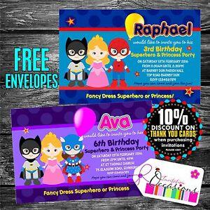 Superhero Personalised Birthday Invitations x 5