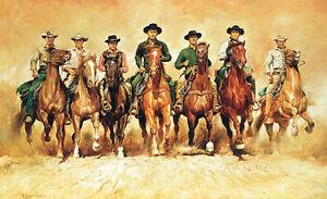 Die-glorreichen-Sieben-Poster-Plakat-Bild-Kunstdruck-Brynner-Bronson-McQueen-XXL