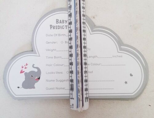 60 Baby Shower Prediction CARDS Games New Mum To Be Grey Cloud Unisex Boys Girls