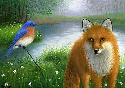 Red fox blue bird misty morning landscape limited edition aceo print of painting