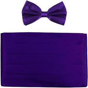 NEW in box men's formal 100% SILK Cummerbund, bowtie set solid PURPLE wedding