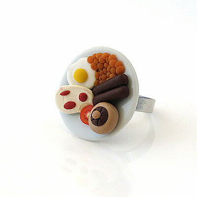 full english fry up breakfast ring on a ceramic plate cute cafe punk