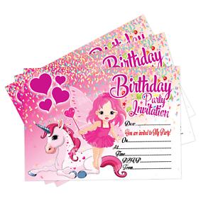 Fairy Unicorn Birthday Party Invitations 20 Invite Cards Kids