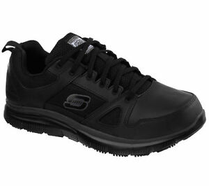 Black-Work-Skechers-Shoes-Men-039-s-Memory-Foam-77040-Slip-Resistant-Leather-Comfort