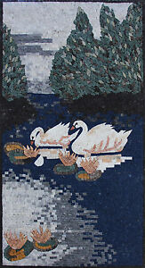 Marvelous-White-Swans-Next-To-Flowers-Lake-Scene-Marble-Mosaic-AN293