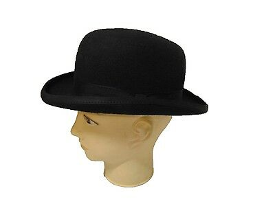 The Famous Christys of London Black Wool Felt Bowler Hat satin lined
