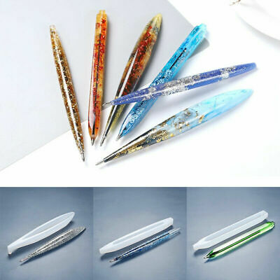 Pen 3 Pieces Pen Resin Mold Epoxy Casting Mold Silicone Ballpoint Pen Molds with 25 Pieces Ballpoint Refill Pens for DIY Craft Candle Making