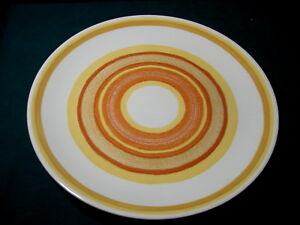 Vintage-USA-Stoneware-Large-Round-11-5-034-PLATTER-Yellows-and-Oranges