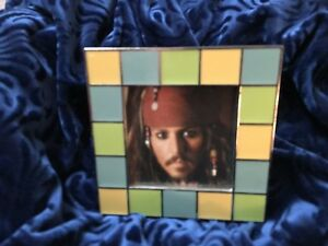 Carr-Photo-Frame-Lime-Gold-Blue-034-Mosaic-Tile-034-w-Johnny-Depp-Picture-Decorative
