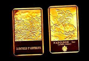 MAGNIFIQUE-LINGOT-PLAQUe-OR-NAPOLEON-LA-BATAILLE-D-039-AUSTERLITZ
